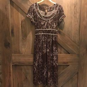 Merona Brown Floral Midi Dress Medium Waist-Tie